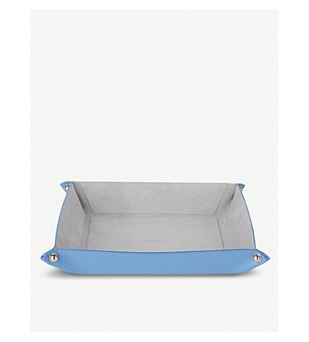 SMYTHSON Panama leather trinket tray large (Nile+blue