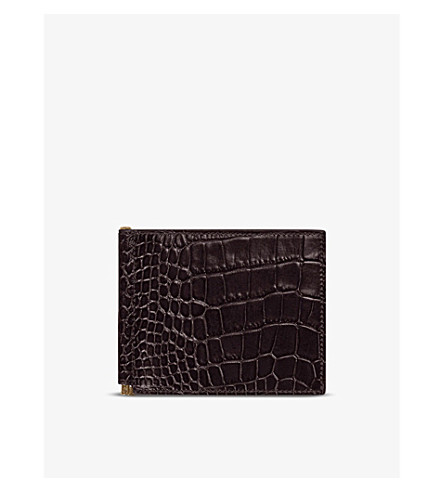 SMYTHSON Mara croc-embossed leather money clip wallet (Brown