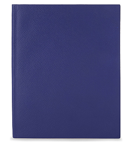 SMYTHSON Portobello leather notebook 25cm (Cobalt