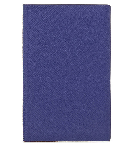 SMYTHSON Panama leather notebook 14cm (Cobalt