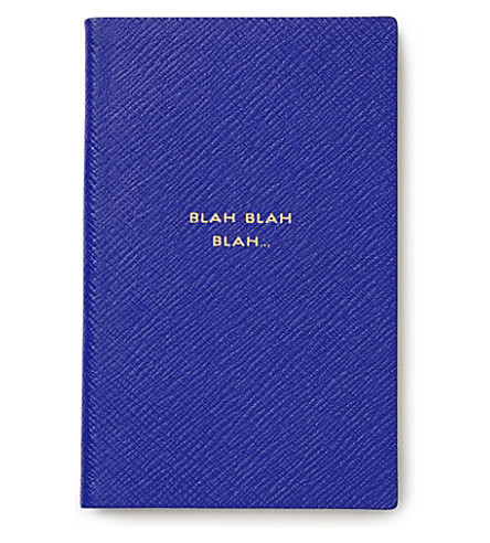 SMYTHSON 'Blah blah blah' panama leather notebook (Cobalt