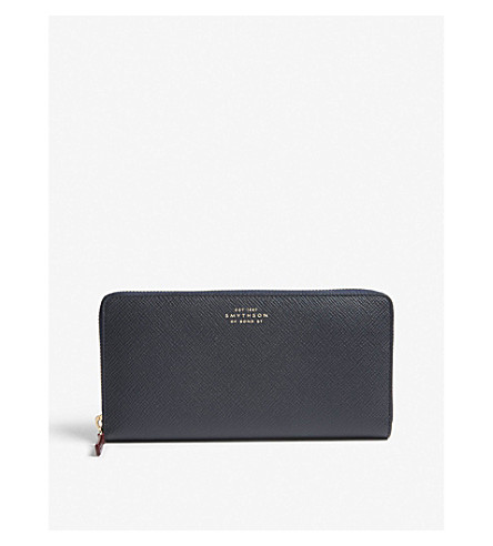 SMYTHSON Panama large leather continental wallet (Navy