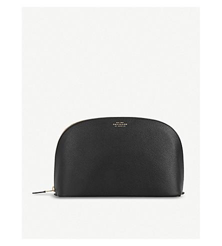 SMYTHSON Panama leather washbag large (Black