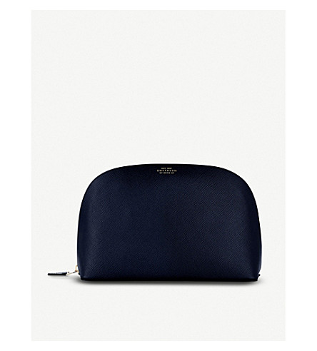 SMYTHSON Panama leather washbag large (Navy
