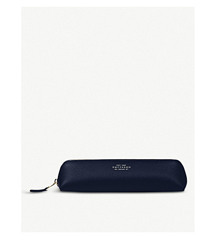 SMYTHSON Panama leather pencil case 20.5cm (Navy