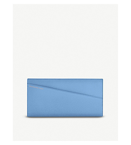 SMYTHSON Panama slim leather travel wallet (Nile+blue
