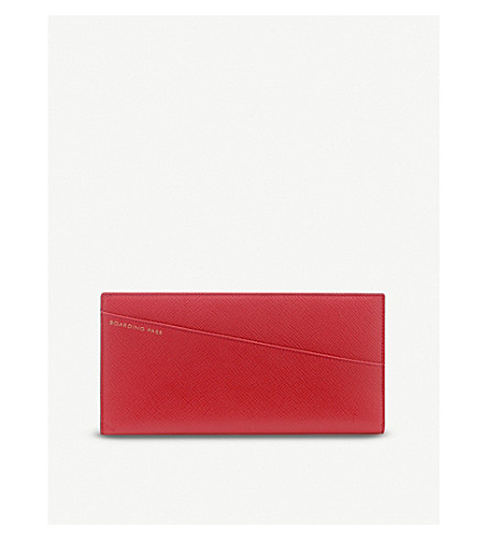 SMYTHSON Panama slim leather travel wallet (Red
