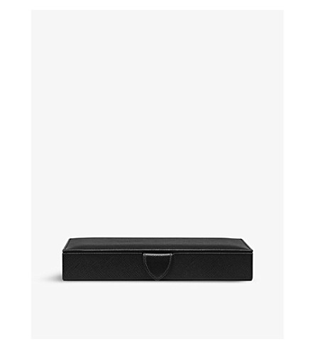 SMYTHSON Panama leather cufflinks box (Black