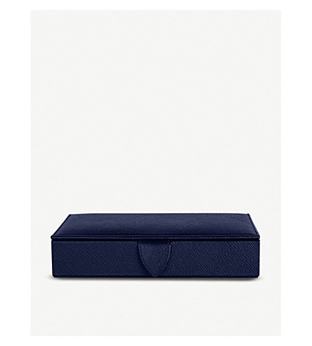 SMYTHSON Panama leather cufflinks box (Navy