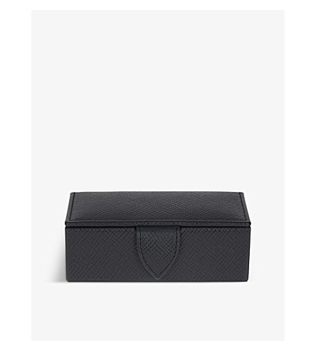 SMYTHSON Panama small leather cufflink box 11cm