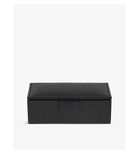 SMYTHSON Panama leather cufflink box 11cm