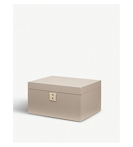 SMYTHSON Grosvenor leather jewellery box (Dove+grey