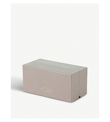 SMYTHSON Grosvenor multiple leather ring box (Dove+grey
