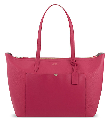 SMYTHSON Panama East West leather tote (Fuchsia