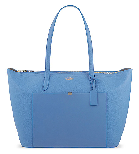 SMYTHSON Panama East West leather tote (Nile+blue