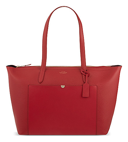 SMYTHSON Panama East West leather tote (Red