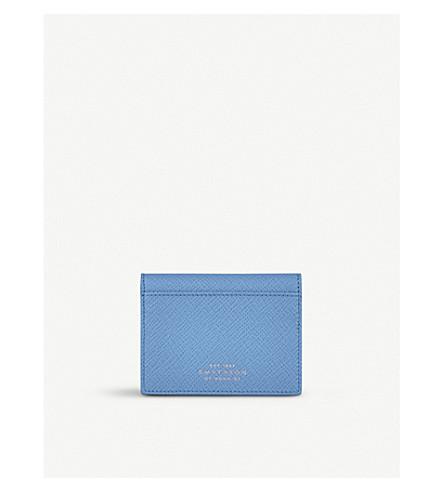 SMYTHSON Panama leather travel pass holder (Nile+blue