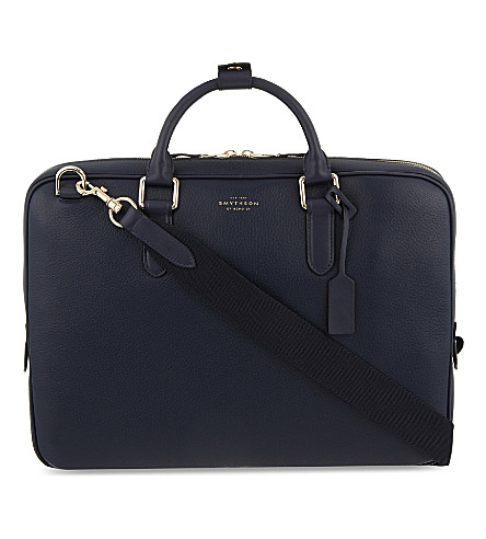 SMYTHSON Burlington slim deerskin briefcase (Navy
