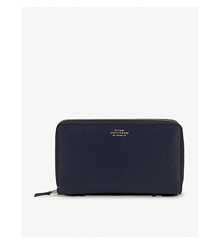 SMYTHSON Burlington double-zip leather travel wallet (Navy