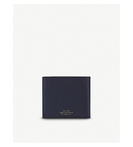 SMYTHSON Burlington six card leather wallet (Navy