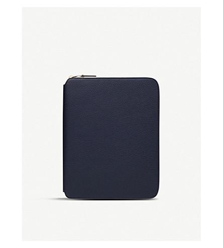 SMYTHSON Burlington A5 zipped leather writing folder (Navy