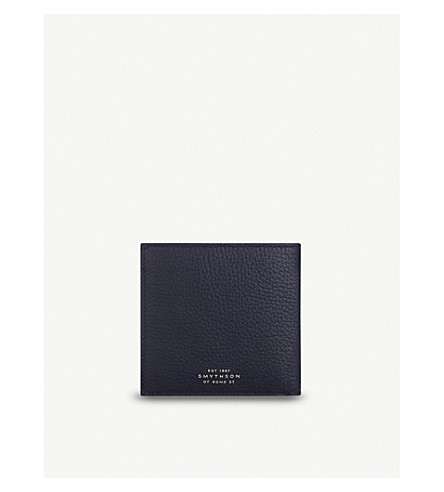 SMYTHSON Burlington eight card leather wallet (Navy