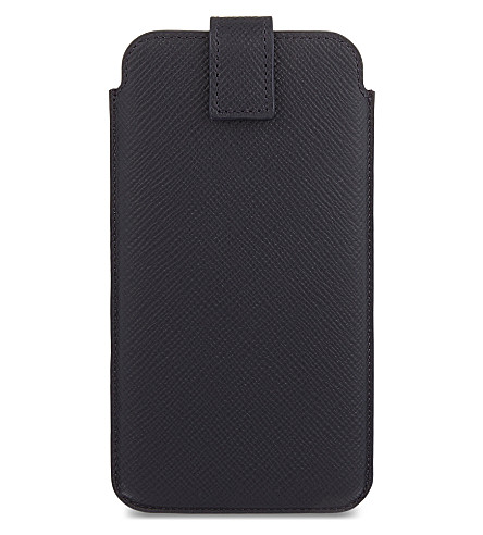 SMYTHSON Panama leather iPhone 6 + / Samsung Galaxy S6 Edge Plus case (Navy