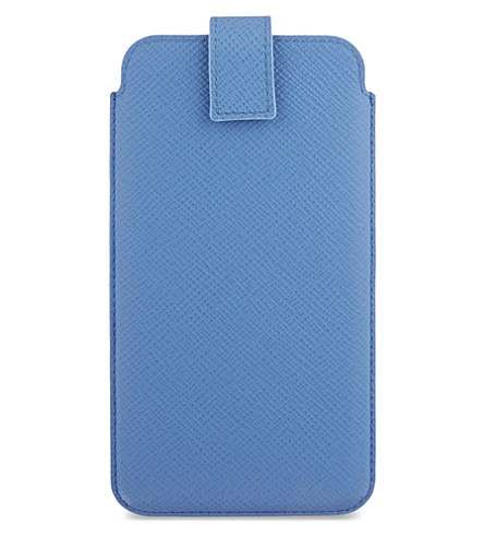 SMYTHSON Panama leather iPhone 6 + / Samsung Galaxy S6 Edge Plus case (Nile+blue