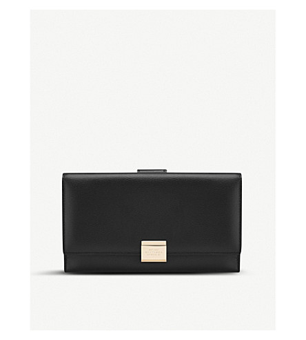 SMYTHSON Grosvenor continental leather purse (Black