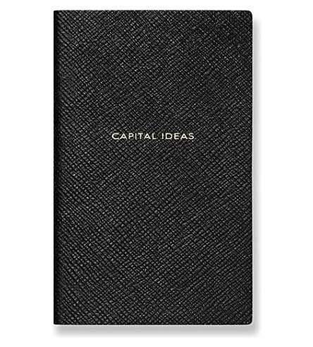 SMYTHSON 'Capital ideas' panama leather notebook (Black