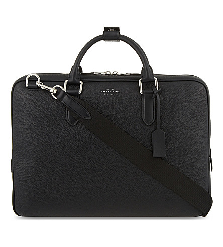 SMYTHSON Burlington slim deerskin briefcase (Black