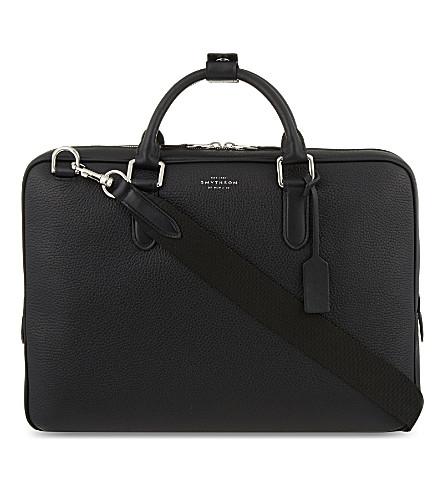 SMYTHSON Burlington slim deerskin briefcase (Black