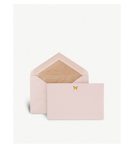 SMYTHSON Butterfly correspondence cards pack of ten (Pale+pink