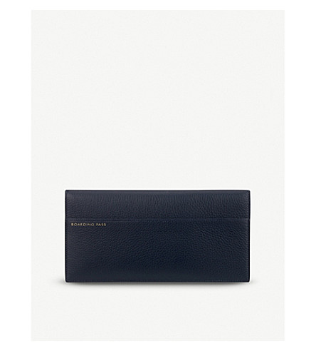 SMYTHSON Burlington slim leather travel wallet (Navy