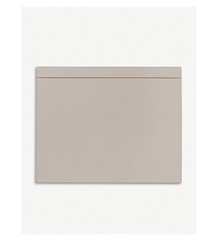 SMYTHSON Grosvenor leather desk blotter (Dove+grey