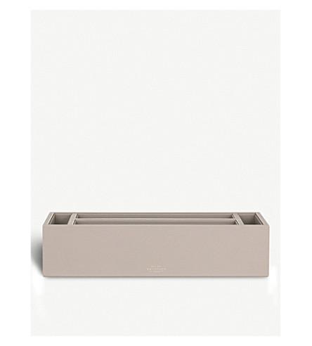 SMYTHSON Grosvenor leather desk set (Dove+grey