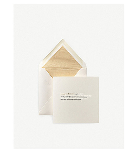 SMYTHSON Congratulations Expressions Card (White