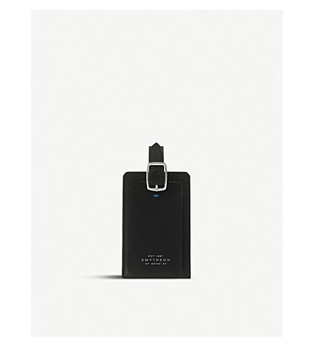 SMYTHSON Greenwich leather luggage tag (Black