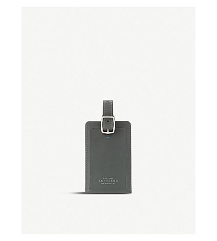 SMYTHSON Greenwich leather luggage tag (Granite