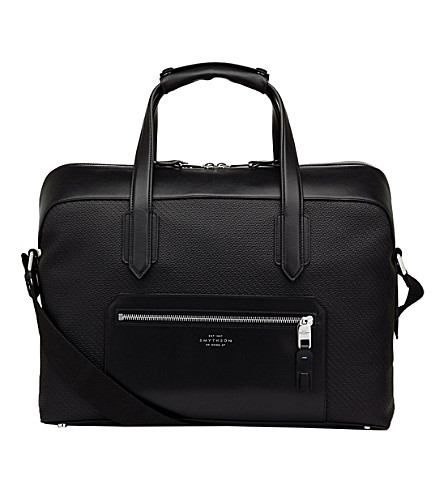 SMYTHSON Greenwich cotton and leather carry-on bag (Black