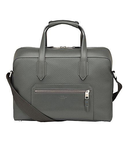 SMYTHSON Greenwich cotton and leather carry-on bag (Granite