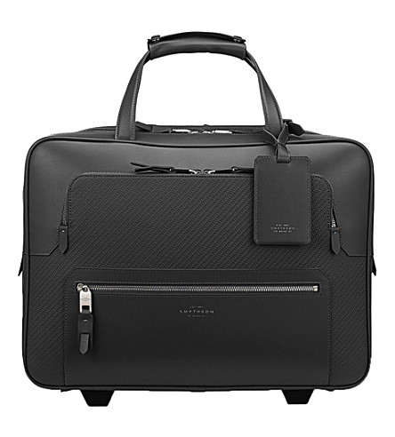 SMYTHSON Greenwich lacquered cotton and calf leather business trolley (Black
