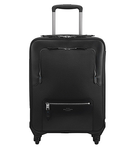 SMYTHSON Greenwich cotton and leather cabin trolley (Black