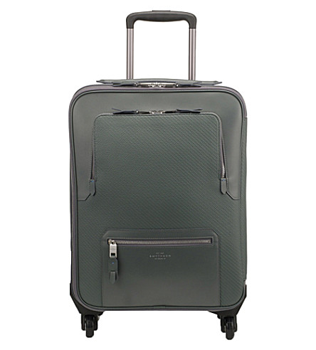 SMYTHSON Greenwich cotton and leather cabin trolley (Granite