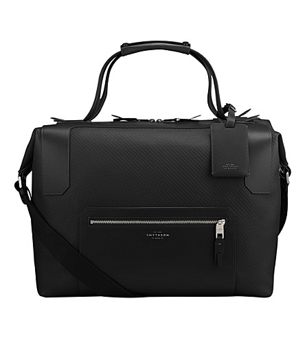 SMYTHSON Greenwich large canvas and leather holdall (Black