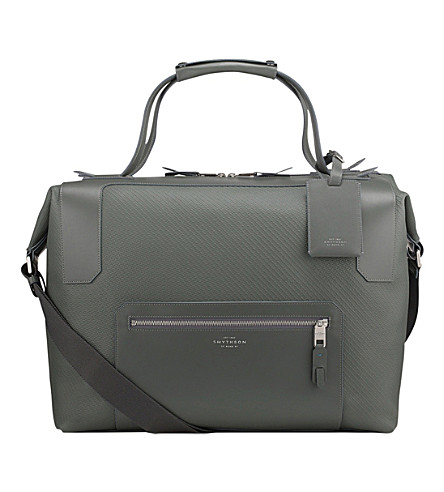 SMYTHSON Greenwich large canvas and leather holdall (Granite