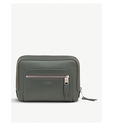 SMYTHSON Greenwich lacquered cotton and leather wash bag (Granite