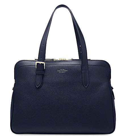 SMYTHSON Burlington leather business bag (Navy