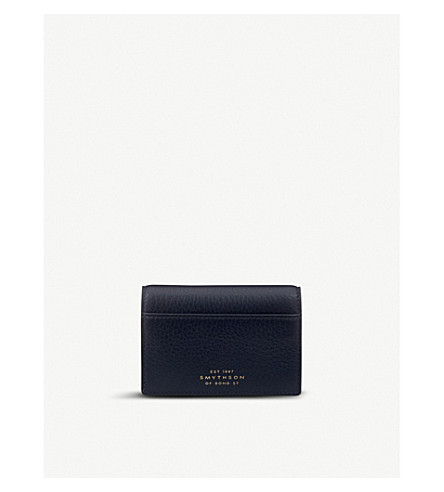 SMYTHSON Burlington leather card case (Navy