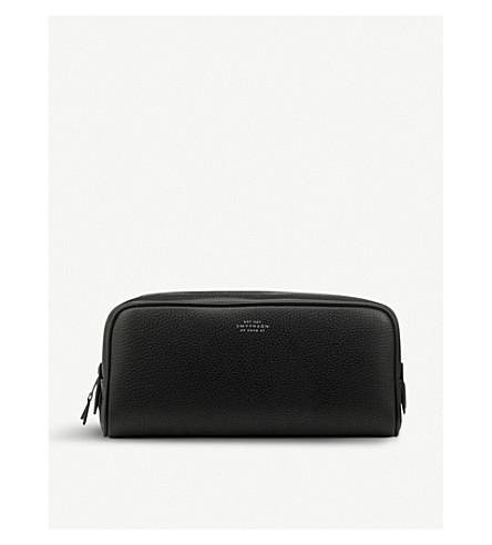 SMYTHSON Burlington leather large washbag (Black